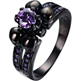 Bamos Jewelry Womens Lab Purple Bright Stone Skulls Black Gold Plated Gift Engagement Wedding Womens Ring Size 5-10