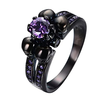 bamos jewelry womens lab purple bright stone skulls black gold plated gift engagement wedding womens ring - Purple Diamond Wedding Ring