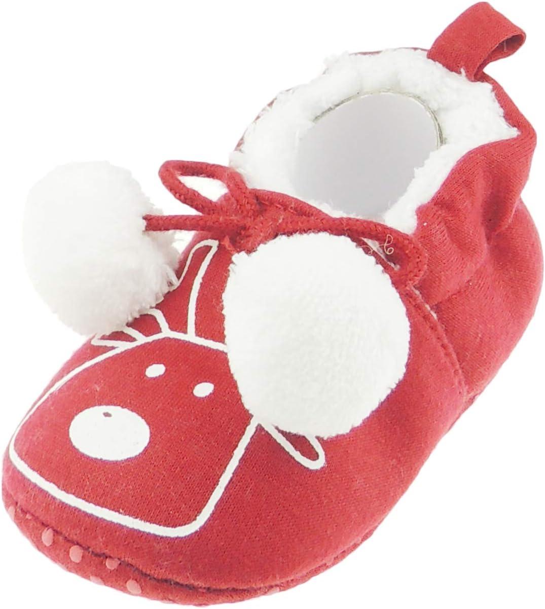 Cochecito navide/ño con pomp/ón color rojo multicolor Talla:0-3 Meses dise/ño de reno Adorable Rudolph Rudolph