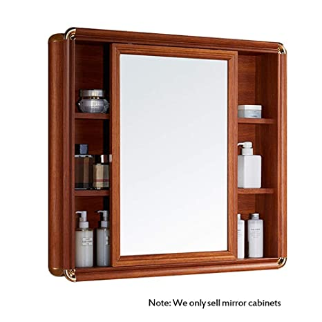 Amazon.com: Mirror Cabinet Wall Mounted Bathroom Bathroom Mirror With Shelf  Simple Bathroom Cabinet Wall Mirror Cabinet (Color : Brown, Size :  801273cm): ...