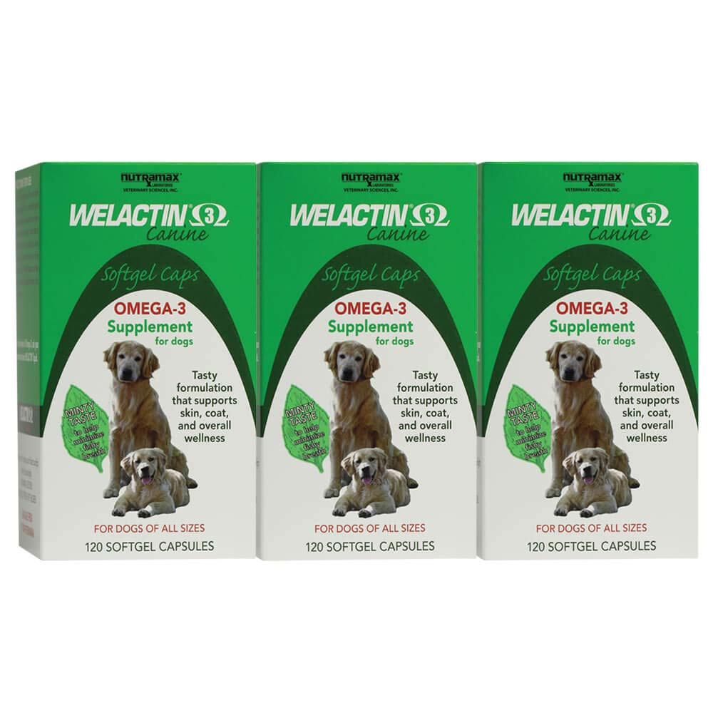 Welactin Canine Softgel Capsule, 120 Count, 3-Pack by Nutramax Laboratories