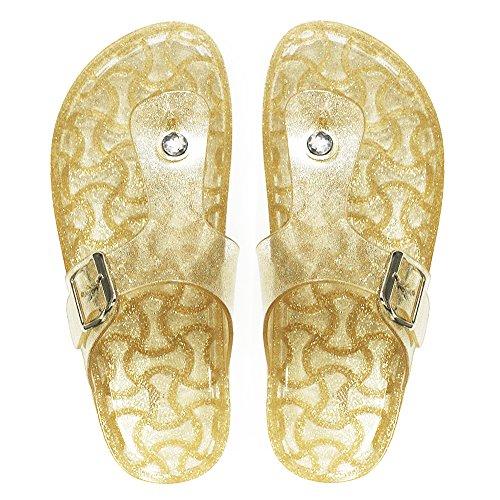 EclaDea Jelly Flip-Flops for Women, Women's Pearl Glitter Jelly [Thong Sandals] Fashion Flip Flops Slip-On Flat Slippers Slide Sandals with Adjustable Buckle Strap, Gold Size 9 M [US (Cute Flat Sandals)
