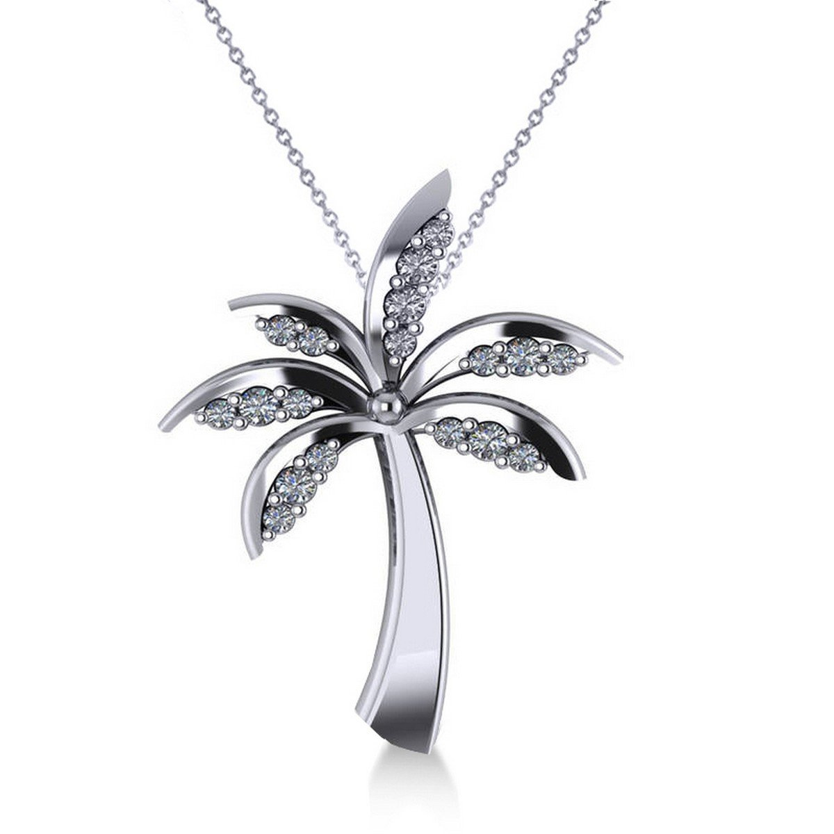 Allurez Diamond Tropical Summer Palm Tree Pendant Necklace in 14k White Gold (0.24ct)