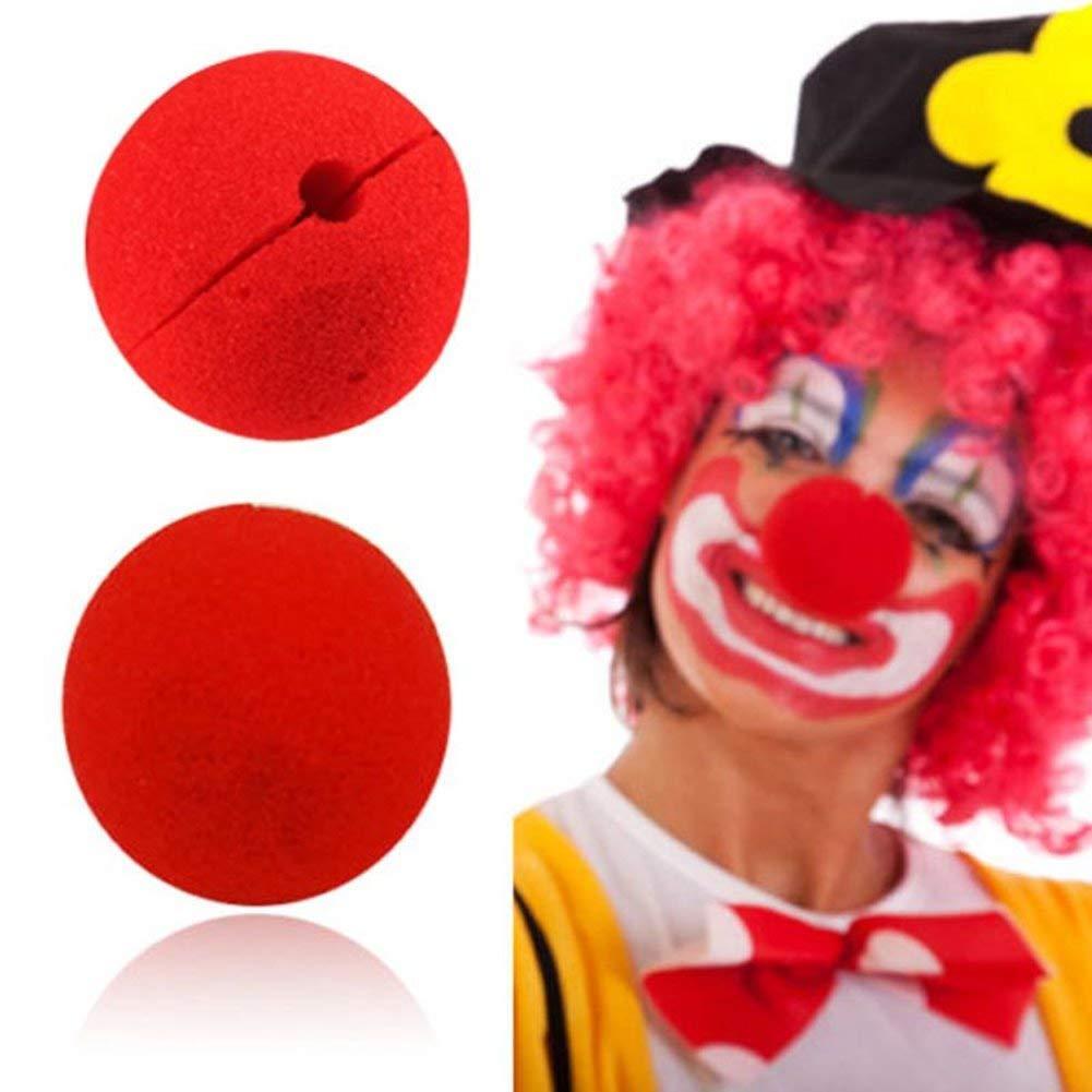Amaoma Nariz Payaso Espuma Nariz de Payaso Rojo Decoracion de Circo Nariz de Espuma Roja de Payaso para Disfrazarse 5cm Narices Halloween Dress Up Props Traje del Favor del Partido 25 Piezas