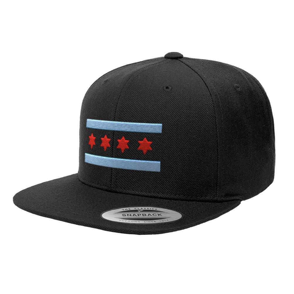 Chicago Flag Hats B Illinois Premium Classic Snapback Yupoong Flexfit 6089  (Black) at Amazon Men s Clothing store  092e527ed4b