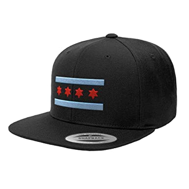 Chicago Flag Hats B Illinois Premium Classic Snapback Yupoong Flexfit 6089  (Black) 53fb76e596c