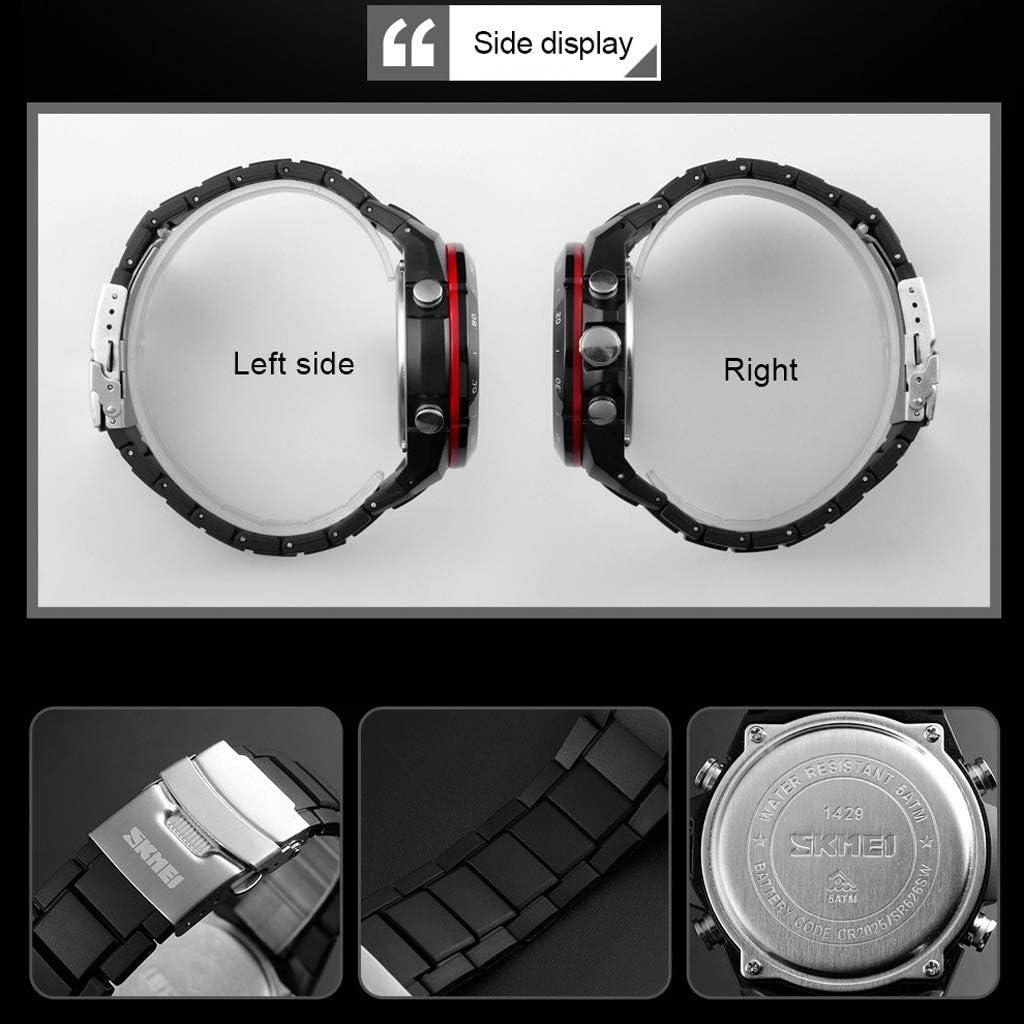 Orologio Elettronico YZD@ Outdoor Sport Digitale, Impermeabile Luminoso con Allarme Doppio Display Casual Semplice Uomo - Multicolore All\'aperto Black