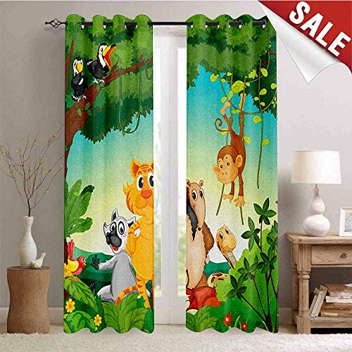 - Hengshu Zoo Blackout Window Curtain Forest Scene with Different Animals Habitat Jungle Tropical Environment Kids Cartoon Customized Curtains W72 x L84 Inch Multicolor
