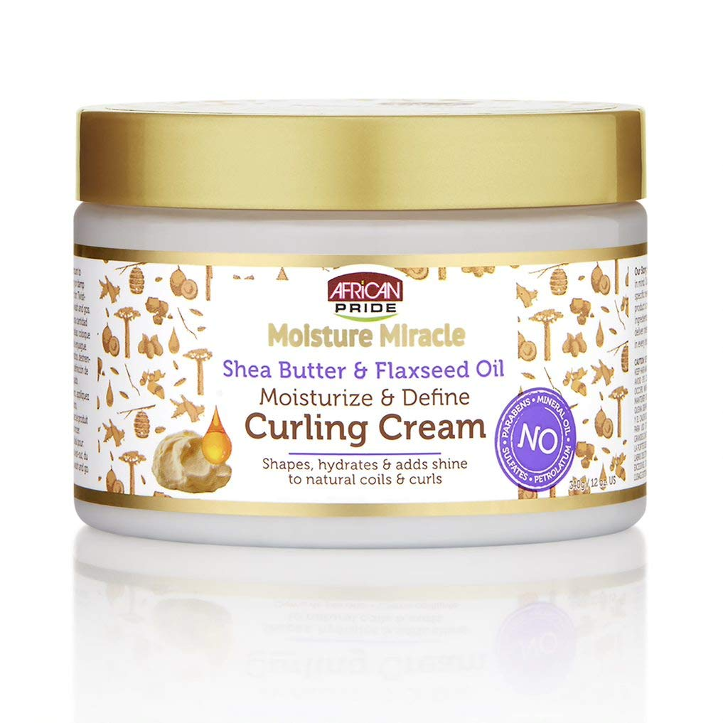African Pride Moisture Miracle Shea Butter & Flaxseed Oil Curling Cream - Shapes, Hydrates & Adds Shine to Natural Coils & Curls, Moisturizes & Defines, 12 oz