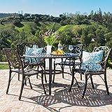 Calandra 5-Piece Cast Aluminum Circular Table Dining Set