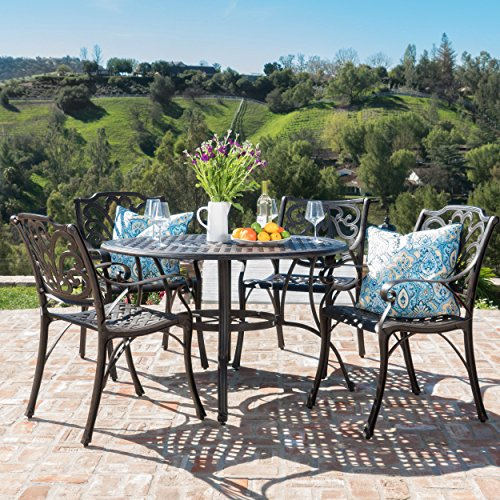 Calandra Patio Furniture ~ 5 Piece Outdoor Cast Aluminum Circular Table Dining (5 Piece Garden Patio Furniture)