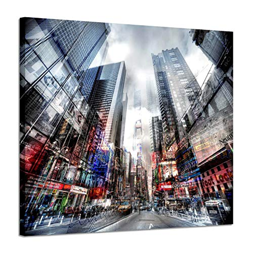 Abstract Urban Cityscape Décor Pictures – Artwork Hustle New York Time Square City Shots with Sunlit Street, Photographic Print on Canvas for Modern ()