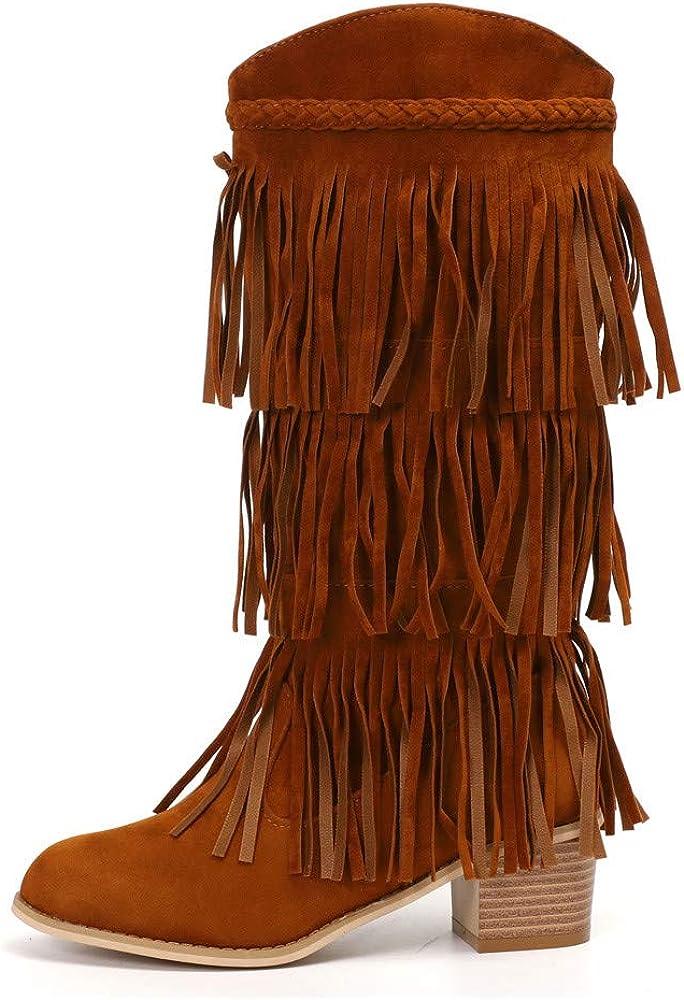 Posional Botas De Mujer Retro Boots Tooling para Hombre British Student Casual Botines Casuales TacóN Alto con Cabeza Cuadrada Mujer Moda Roma Flecos sobre La Rodilla Largas Tacones Cuadrados Zapatos: Amazon.es: Ropa