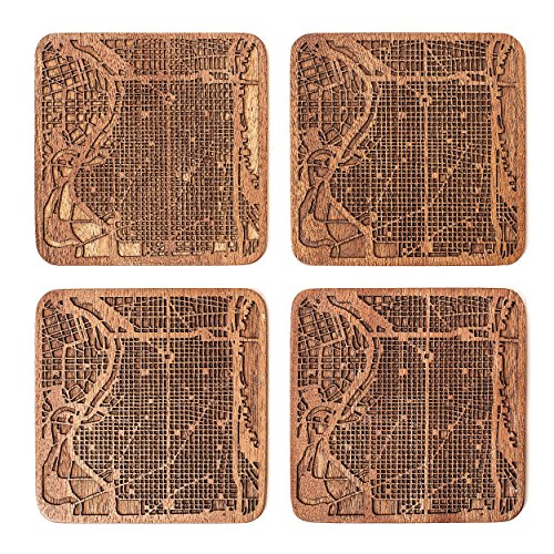 Philadelphia Map Coaster by O3 Design Studio, Set Of 4, Sapele Wooden Coaster With City Map, Handmade
