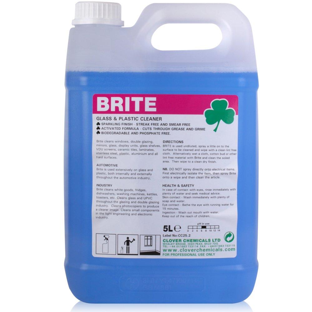 Brite Glass, Plastic & Tile Cleaner (5L). Clover
