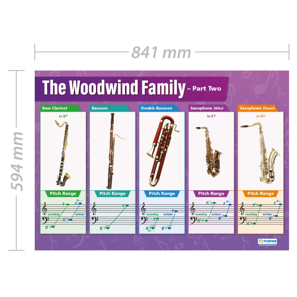 A1 2 Gloss Paper measuring 850mm x 594mm Woodwind Instruments | Music Charts for the Classroom Education Charts by Daydream Education | Music Posters