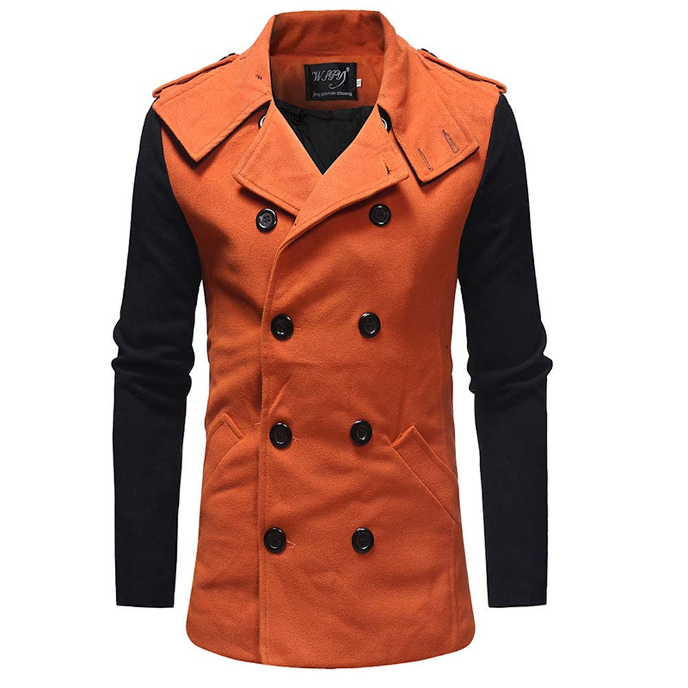 Clearance Forthery Trench Coat Mens Double Breasted Long Jacket Windbreaker Coat(Orange, US Size L = Tag XL)