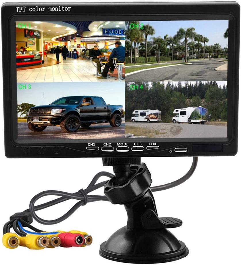 Hikity Quad Split Monitor 7 Inch HD Screen TFT LCD Video Displays for Home CCTV Surveillance Security System, Windshield Style Parking Dashboard Monitor for Car Backup Camera