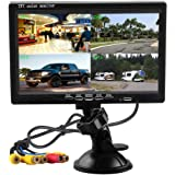 Hikity Quad Split Monitor 7 Inch HD Screen TFT LCD Video Displays for Home CCTV Surveillance Security System, Windshield…