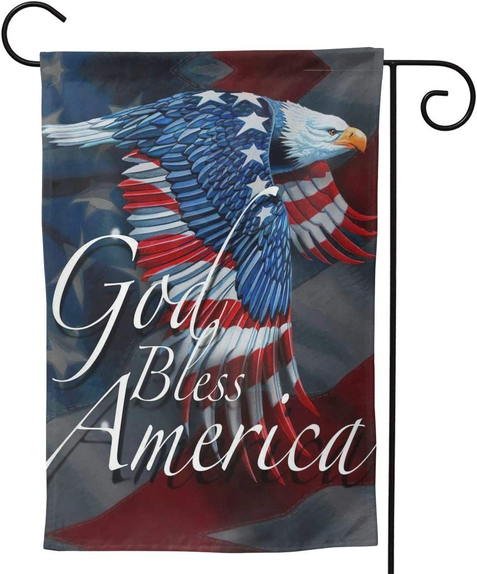 MINIOZE God Bless American Flag Eagle Patriotic Happy July 4th Welcome Party Outdoor Outside Decorations Ornament Picks Home House Garden Yard Flag Decor Double Sided 12.5 X 18/28 X 40