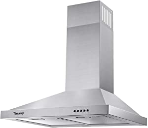 Wall Mount Range Hood 30 inch Ducted Kitchen Exhaust Vent, Stainless Steel Chimney-Style Over Stove Vent Hood with LED Light, 3 Speed Exhaust Fan, 450 CFM, Tieasy