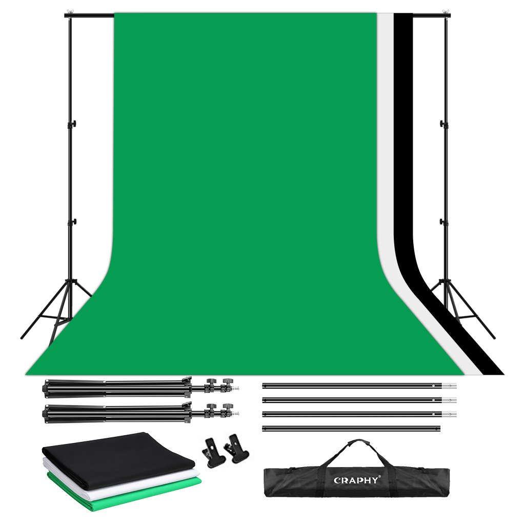 CRAPHY Portable Photo Studio 10 x 6.5ft Background Stand Kit Backdrop Support System with Muslin Cotton Background (Green Black White, 9ft x 6ft) and Carrying Bag by CRAPHY (Image #1)