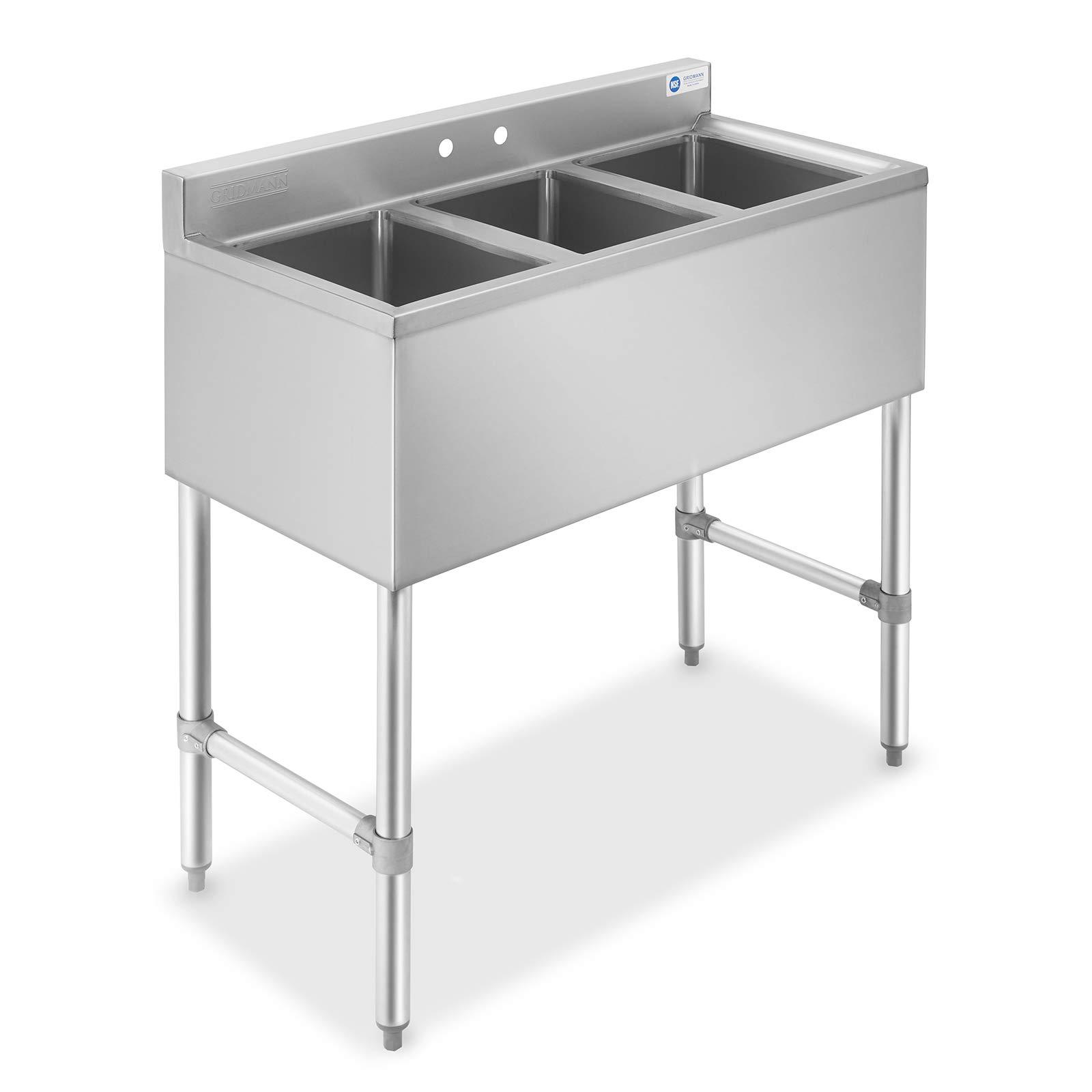GRIDMANN 3 Compartment NSF Stainless Steel Commercial Bar Sink by GRIDMANN