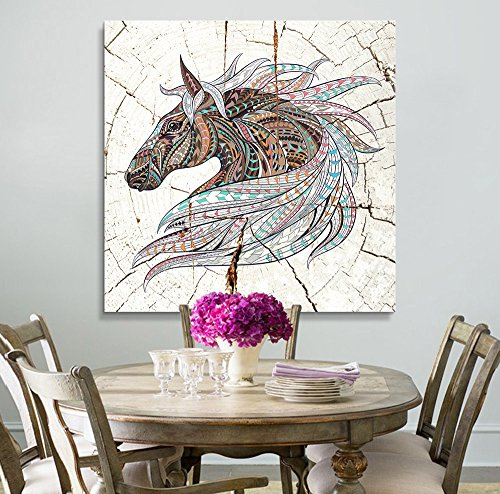 Square Colorful Tribal Horse Wood Effect