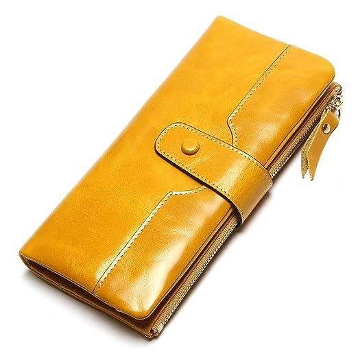 100% Leather Women Phone Wallet Long Purse Lady Oil Wax Cowhide ... 30e77f0b39