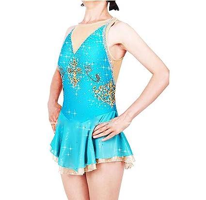 Chica Patinaje Sobre Hielo Vestidos Azul Cielo Licra, Hilo Elástico Alta Elasticidad Profesional Ropa de