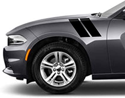 4x Car Side Fender Hash Mark Stripes Graphic Decal Sticker Kit For Dodge Charger