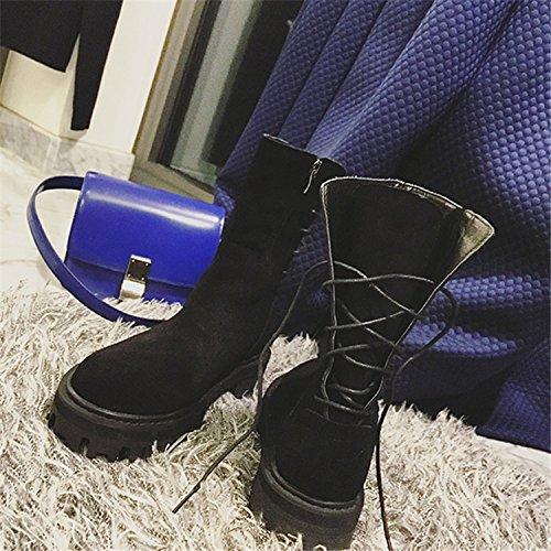 NSXZ NSXZ in BLACK con impermeabile gli pizzo stivali Inverno cuoio rotondo Martin stivali donne 37 stivali delle 39 FFY1w