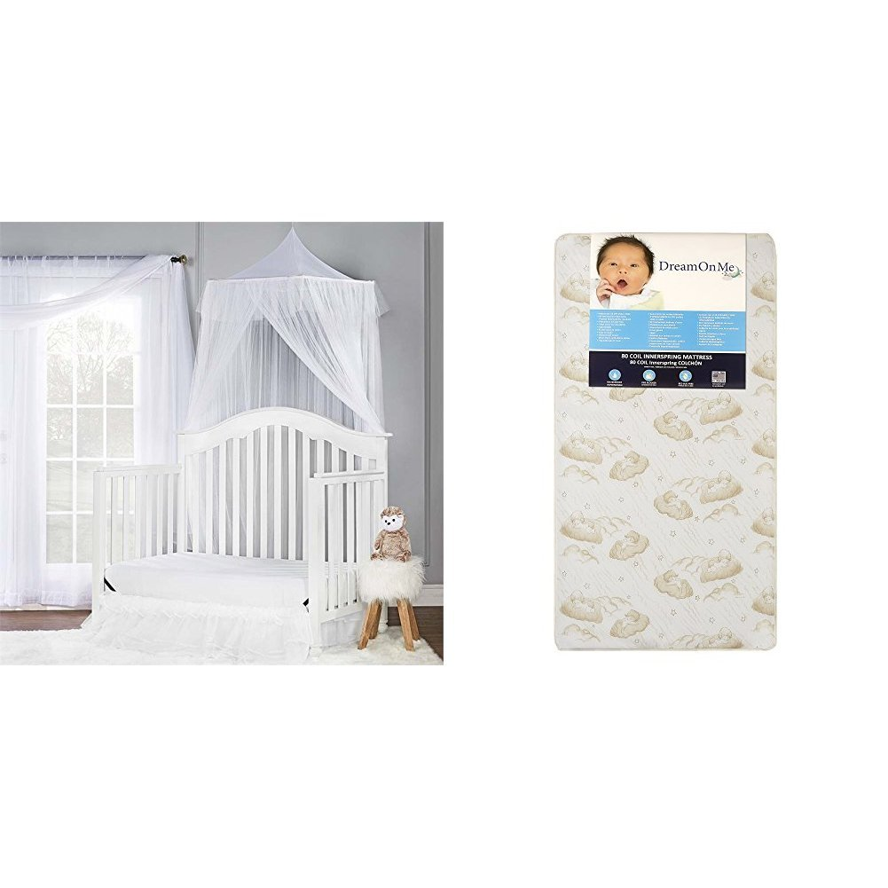 Dream On MeCharlotte5-In-1 Convertible Crib with Dream On Me Spring Crib and Toddler Bed Mattress, Twilight