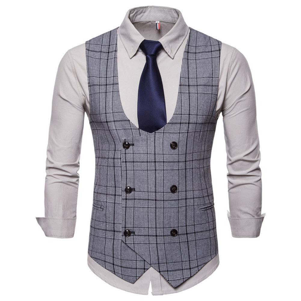 Homme Gilet Costume Veste sans Manches Slim Fit Double Boutonnage ... 229aa316a9f4