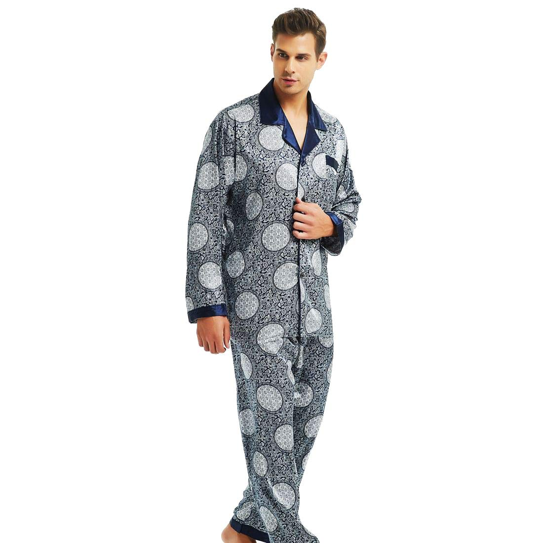 Mens Silk Satin Pajamas Set Lucky Circle L