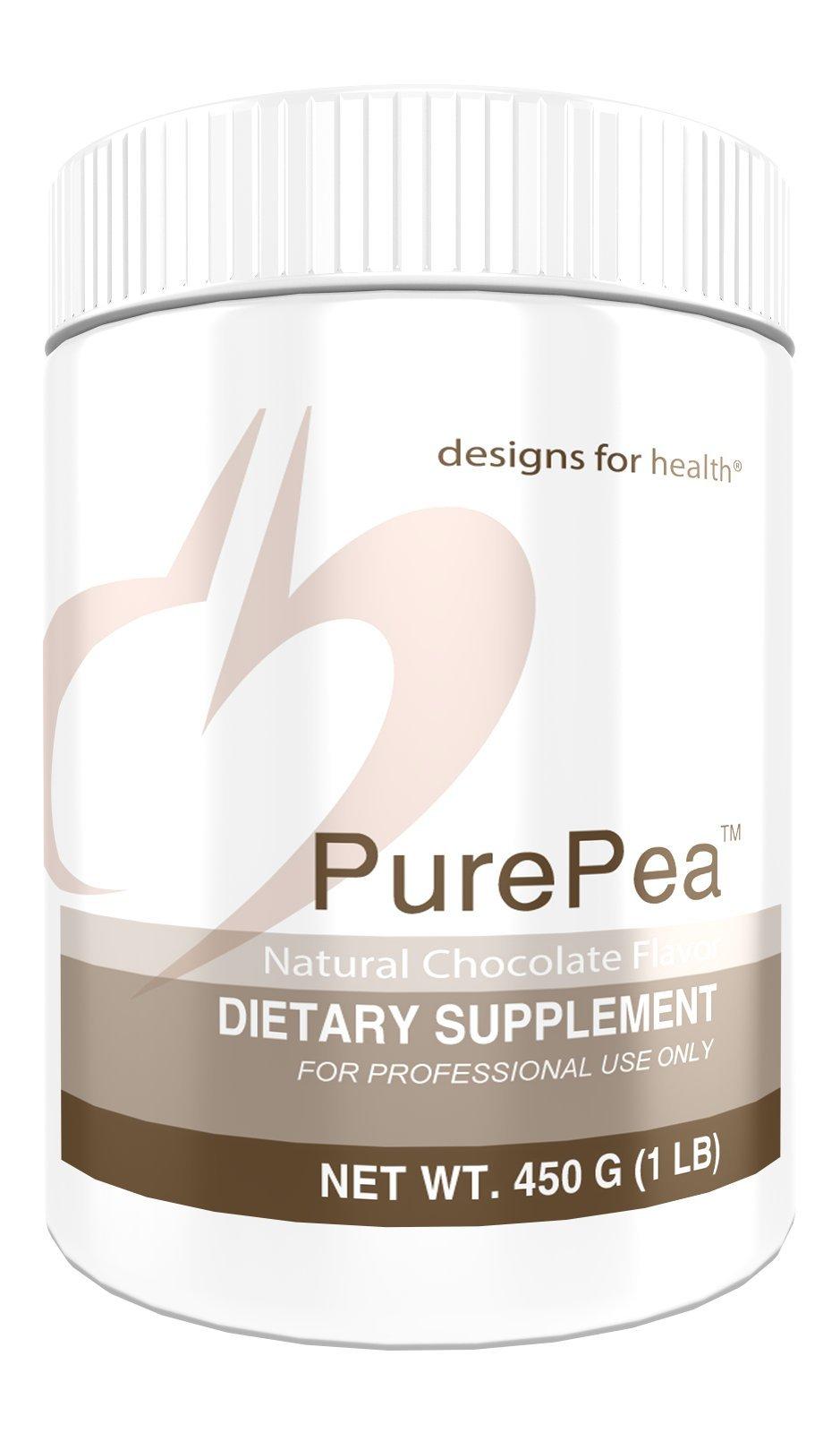 Designs for Health PurePea - Chocolate Pea Protein Powder, 20 Grams Vegan Protein with Non-GMO Peas (15 Servings, 450 Grams) by designs for health
