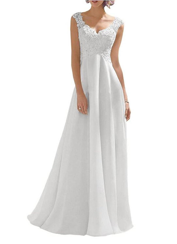 DlassDress Women's Double V-neck Sleeveless Beading Lace Wedding Dress Evening