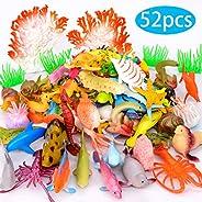 Pawliss Ocean Sea Animals 52 Pcs, Under The Sea Life Figure Bath Toys for Kids, Plastic Marine Creatures Favor