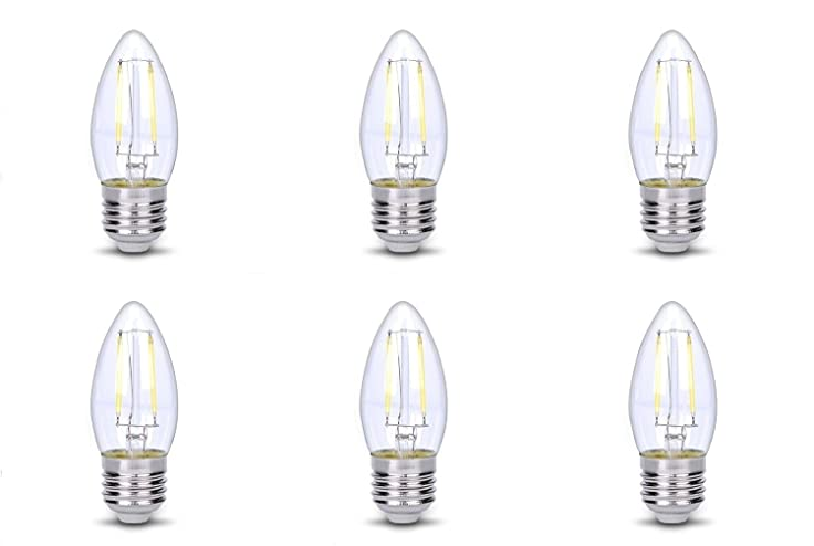 Dc 12 volt clear cool white 6000k 2w bulb e26 led b10 s14 torpedo candle filament