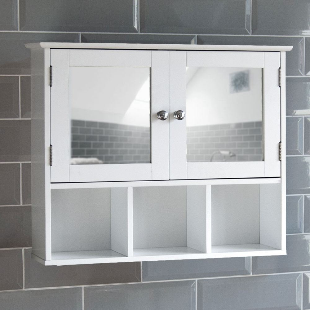 Home Discount Milano Double Door Mirrored Bathroom Cabinet Storage Shelves Wall Mounted, White