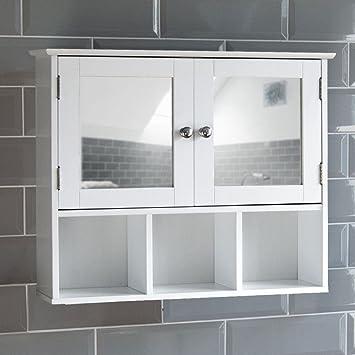 Home Discount Milano Double Door Mirrored Bathroom Cabinet Storage
