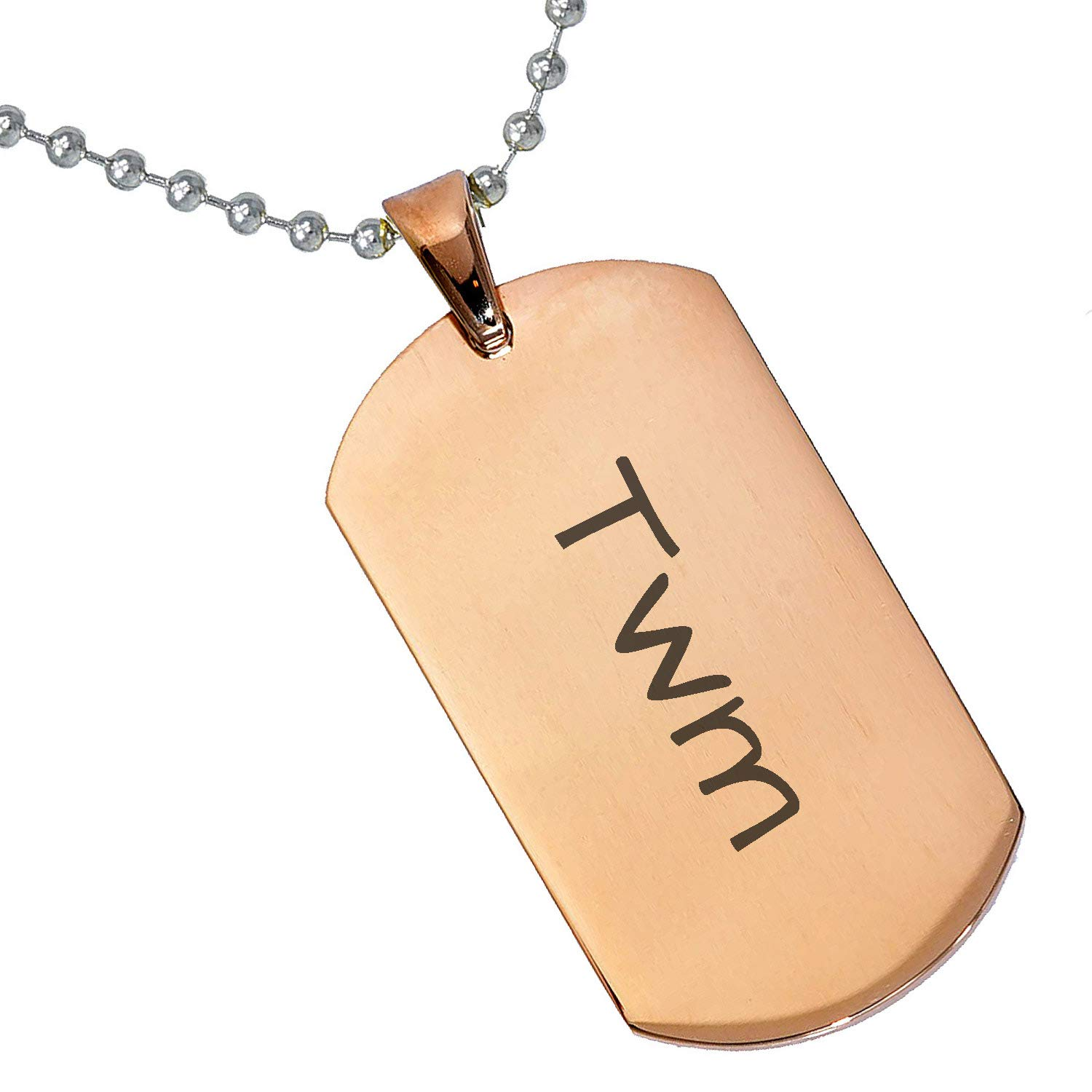 Stainless Steel Silver Gold Black Rose Gold Color Baby Name Twm Engraved Personalized Gifts For Son Daughter Boyfriend Girlfriend Initial Customizable Pendant Necklace Dog Tags 24 Ball Chain