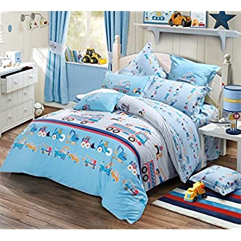 Awesome MakeTop Excavator Construction Vehicles Trucks Cars Kids Boys Bedding Set  (Queen, 4pc Without Comforter