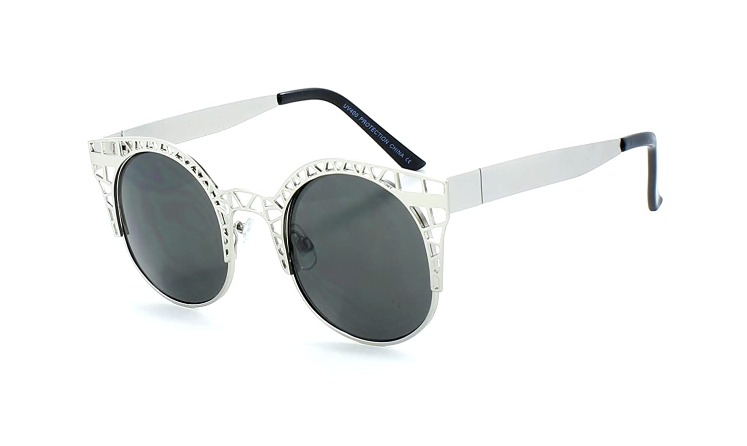 High Fashion Metal Cut Out Hollow Frame Round Cat Eye Sunglasses (Silver)