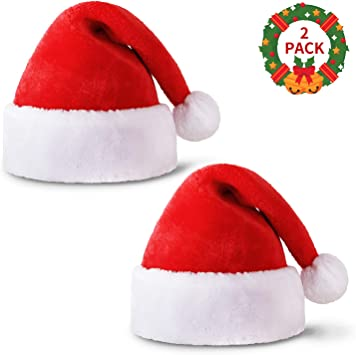 HusDow 6 Pack Christmas Hats Plush Santa Hat in Traditional Red and White for Christmas Costume Party