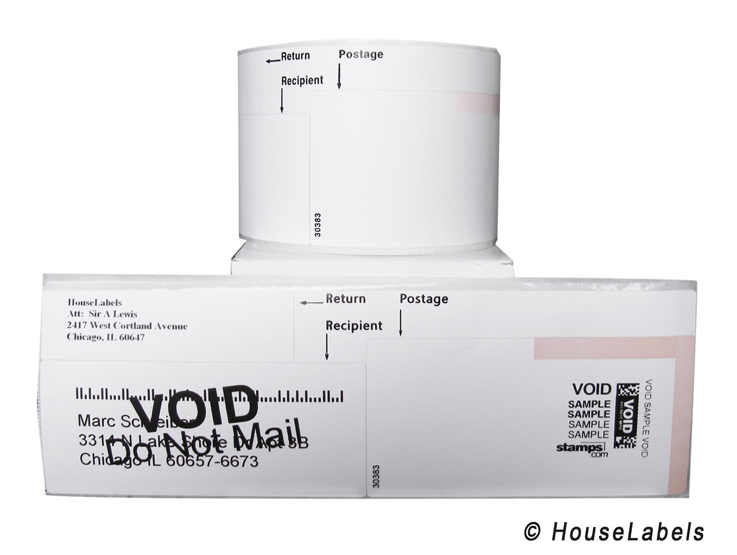 25 Rolls; 150 Labels per Roll of DYMO-Compatible 30383 3-Part Internet Postage Labels (2-1/4'' x 7'') - BPA Free! by HouseLabels