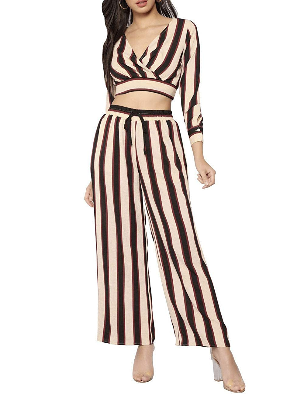 Black&red Angsuttc Women's Striped 2 Piece Outfit Wrap V Neck Crop Top and Wide Leg Long Pants Set