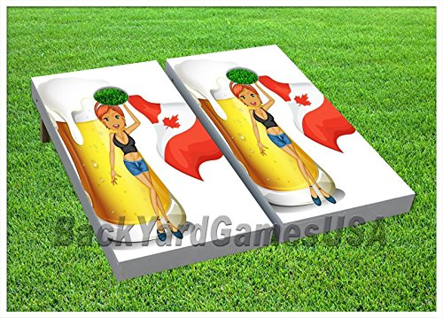 Canada Flag & Beer Custom Wood Cornhole Boards Beanbag Toss Game W Bags Set 286 (Cornhole Bags Canada compare prices)