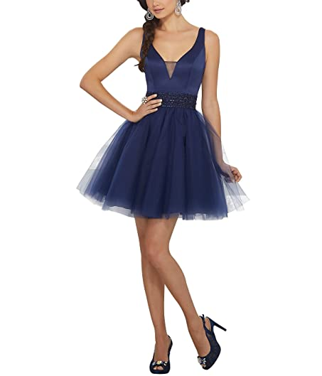 Nicefashion Womens Elegant V Neck Puffy Tulle Short Homecoming Prom Dress with Beaded Waist Navy Blue