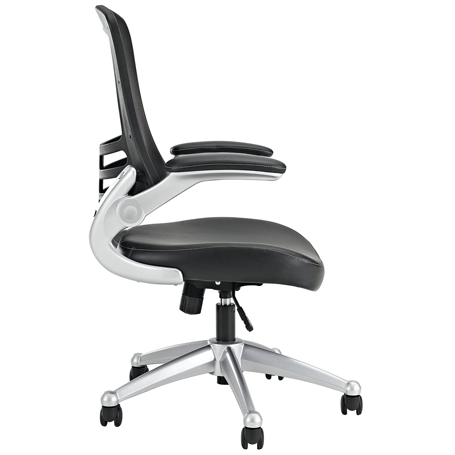 Amazon Modway Attainment Mesh Back And Black Vinyl Seat Modern Office Chair With Flip Up Arms